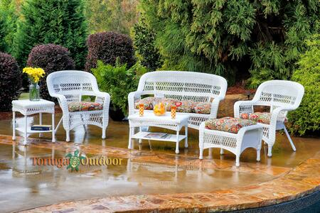 Portside PS6S-WHITE ZOECS 6-Piece Seating Patio Set with Loveseat  Coffee Table  Side Table  2 Chairs and Ottoman in White with Zoe Citrus