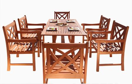 V189SET2 Malibu Eco-Friendly 7-Piece Wood Outdoor Dining