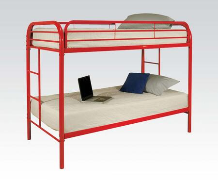Thomas Collection 02188RD Twin Over Twin Bunk Bed with Built-In Side Ladders  Safety Rails and Solid Metal Construction in Red