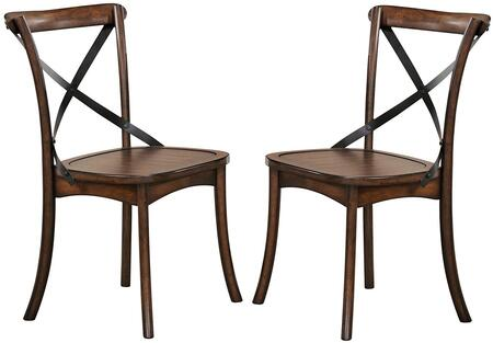 Kaelyn Collection 73032 18 inch  Set of 2 Side Chair with  inch X inch  Metal Backrest  Flared Wood Legs  Rubberwood and Oak Veneer Materials in Dark Oak and Black