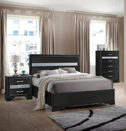 Naima Collection 25910T3SET 3 PC Bedroom Set with Twin Size Bed  Chest and Nightstand in Black