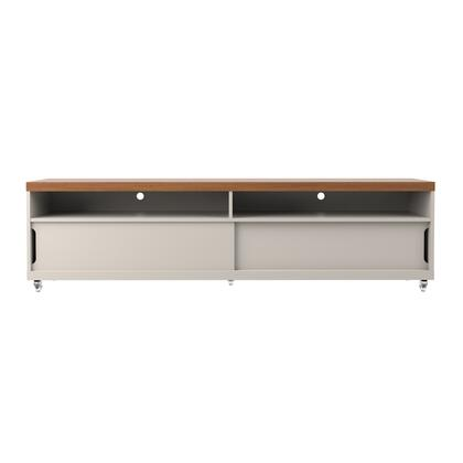 19952 Batavia 70.86 inch  TV Stand with Silicone Casters and 4 Shelves in Off White and Maple