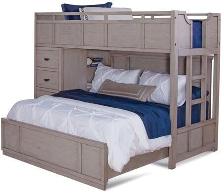 Provo Youth 7300-TFSLB Twin Over Full Loft Bed with Chest  Bookcase and Built in Ladder in Driftwood