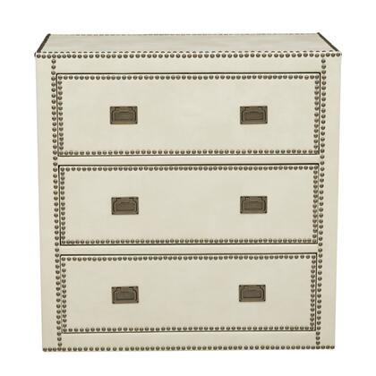 DSD047001090 Er Ivory Faux Leather Wrapped Trunk Style Drawer In White