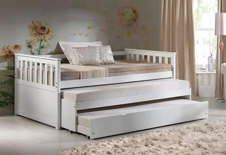 Cominia Collection 39080SET 2 PC Bedroom Set with Twin Size Daybed and Caster Wheels Trundle in White