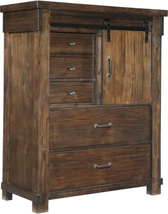 Lakeleigh Collection B718-46 44 Chest With 5 Drawers  1 Adjustable Shelf  1 Sliding Barn Door  Simple Metal Pulls  Lined Top Drawer  High-grain Finish With