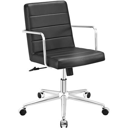 Cavalier Collection EEI-2125-BLK Office Chair with Swivel Seat  Adjustable Height  Dual-Wheel Nylon Casters  Brushed Stainless Steel Armrests  Polished Chrome