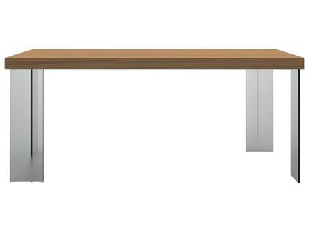 CP1107D-K02 Timber Rectangular Dining Table with Tempered Glass Legs in Light Birch