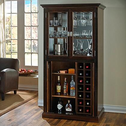 3351801 39 inch  Firenze Wine and Sprits Armoire Bar with Adjustable Shelves  14 Bottles Wine Rack  Glass Door  Interior Light  and Mirrored Back  in