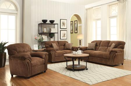 Patricia Collection 50130SLCT 6 PC Living ROom Set with Sofa + Loveseat + Chair + Coffee Table + 2 End Tables in Dark Brown