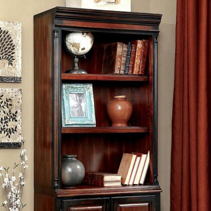 Strandburg CM-DK6255S Bookcase with Transitional Style  Antique Style Knobs and Handles  Solid Wood  Others  Cherry and Black Finish in