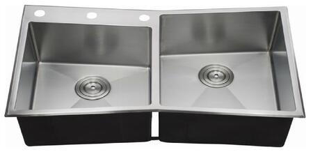 LIX-300-D Jesolo 33 1/2 inch  Double Bowl Undermount/Drop-in Kitchen Sink with Soundproofing System and Mounting Hardware in Stainless