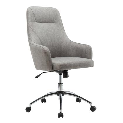 RTA-1005-GRY Comfy Height Adjustable Rolling Office Desk Chair with