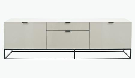 CP1411TV-P04-N36A-SS4-MP Luna TV Unit with Medium-Density Fibreboard  Black Metal Coating Legs and Soft Closing Hinges in High Gloss Avorio