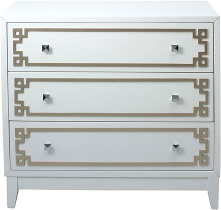 DS-D115006 38 inch  3-Drawer Chest with Metallic Geometric Overlay and Square Tapered Legs in