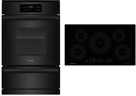 """Frigidaire 2 Piece Kitchen Appliances Package with FFGW2426UB 24"""" Gas Single Wall Oven and FFIC3626TB 36"""" Electric Induction Cooktop in"""