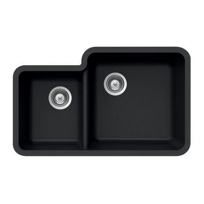 S-175U MIDNITE Quartztone Series Granite Undermount 70/30 Double Bowl Kitchen Sink
