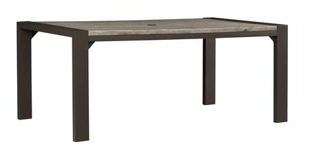 Peachstone Collection P655-625 70 Outdoor Dining Table With Rust Free Aluminum Frame  Rectangular Shape  Authentic Wood Look And Umbrella Hole In Brown