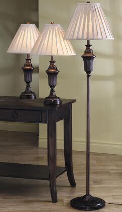 901147 Traditional Lamp Set in Dark Brown (A Floor and 2 Table Lamps) by Coaster