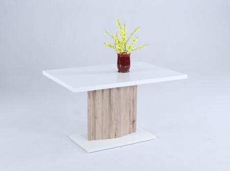 WENDY-DT WENDY Butterfly Extension Wood Table with White Top and Light Oak