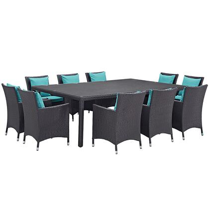 Convene Collection EEI-2240-EXP-TRQ-SET 11-Piece Outdoor Patio Dining Set with Dining Table and 10 Armchairs in Espresso and