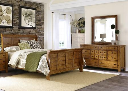 Grandpa's Cabin Collection 175-BR-QSLDM 3-Piece Bedroom Set with Queen Sleigh Bed  Dresser and Mirror in Aged Oak