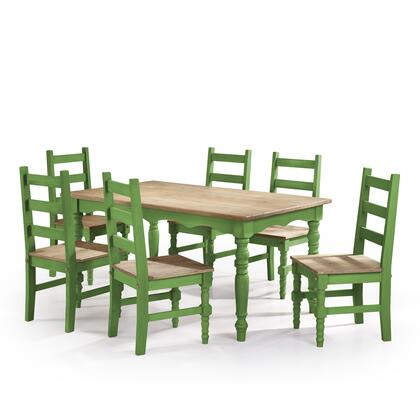 CSJ304 Jay 7-Piece Solid Wood Dining Set with 6 Chairs and 1 Table in Green