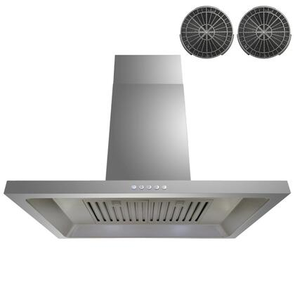 GWR38A30 30 inch  Wall Mount Range Hood with 760 CFM  65 dB  Innovative Touch  1.5W LED Lighting  3 Fan Speed  Stainless Steel Baffle Filter and Ductless: Stainless