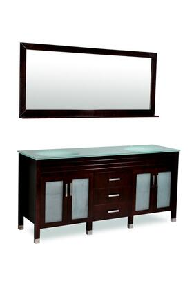 DM1D3-72/ESP Belmont Decor Dayton double sink bathroom vanity with Tempered Glass  Blocked Feet and Simple Pulls in