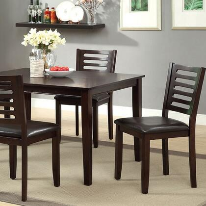 Amador I CM3011T-5PK 5 Pc. Dining Table Set with Transitional Style  Padded Leatherette Seat  Espresso Finish  Ladder Back Chair in