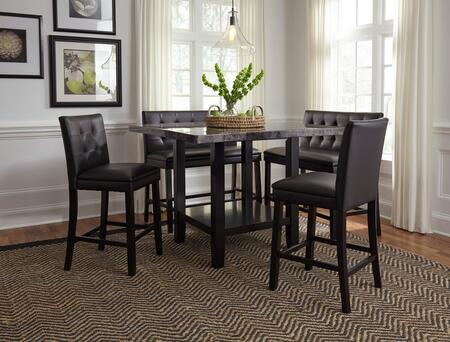 Caspian Collection 121112SC2B 5-Piece Dining Room Set with Counter Height Square Dining Table  2 Counter Height Chairs and 2 Counter Height Benches in