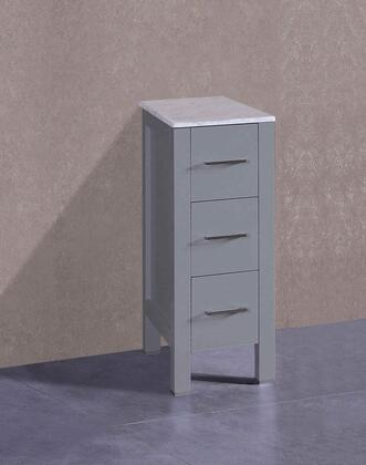 AGRCM1S 12 inch  Side Cabinet with 3 Drawers  Carrara Marble Top and Solid Oak Construction in