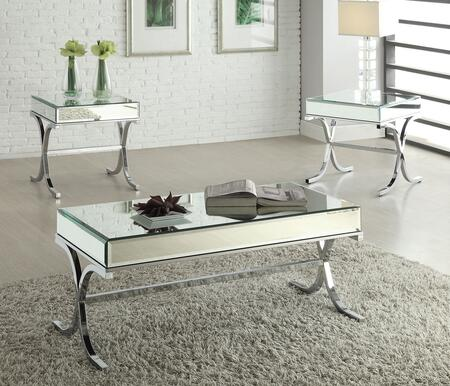 Yuri 81195CET 3 PC Living Room Table Set with Coffee Table + 2 End Tables in Chrome