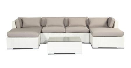 NAPALI7-WHT-GREY Modern Outdoor Furniture Sofa Patio Modify-It Aloha Napali 7-Pc Set  White Wicker/Grey Cushions By Kardiel