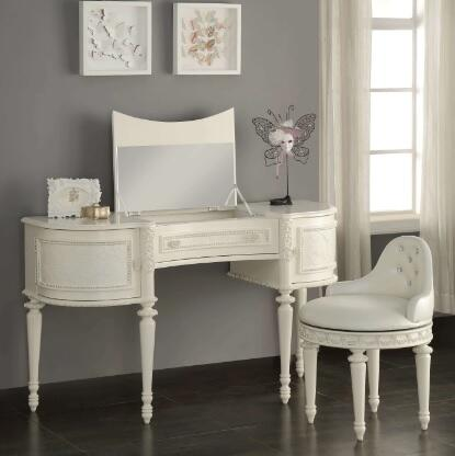 Dorothy Collection 303702 2 PC Vanity Set with Half Moon Shaped Vanity Desk and White Pearl PU Leather Swivel Chair in Ivory