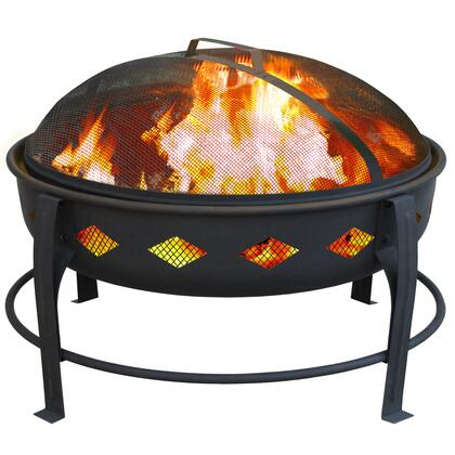 21860 Bromley Fire Pit with Diamond Pattern  Spark Screen  Arched Legs  Support Ring and Steel Construction in