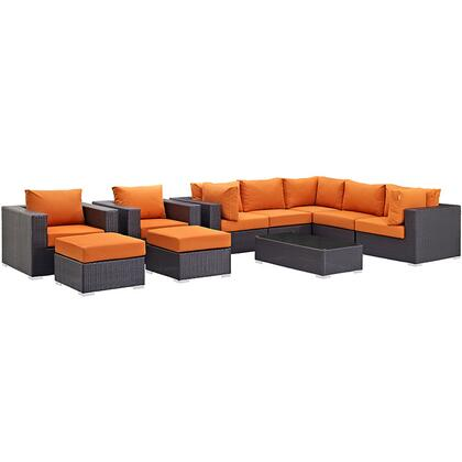 Convene Collection EEI-2169-EXP-ORA-SET 10-Piece Outdoor Patio Sectional Set with Coffee Table  3 Armless Chairs  2 Armchairs  2 Corner Sections and 2 Ottomans