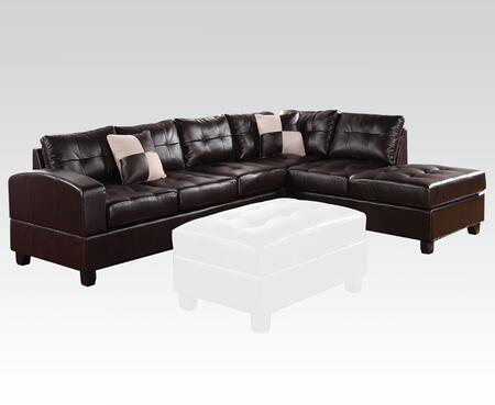 Kiva Collection 51195 Reversible Sectional with Left Facing Sofa  Chaise  Pillows  Pocket Coil Seating  Bonded Leather Match Upholstery  Tufted Back and Seat