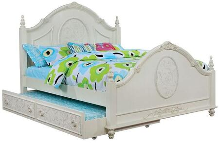 Henrietta Collection CM7192F-BED-TRUNDLE Full Size Bed with Trundle  Floral Carved Detail  Fairy Tale Style  Carved Turned Feet  Solid Wood and Wood Veneers