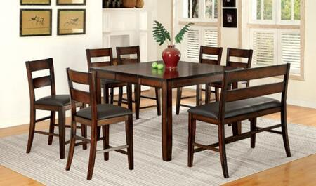 Dickinson II CM3187PT6PCPBN 8-Piece Dining Room Set with Counter Height Rectangular Table  6 Counter Height Side Chairs and Bench in Dark Cherry