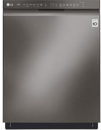 "LG 24"" Front Control Built-In Dishwasher with QuadWash and Stainless Steel Tub Black stainless steel LDF5545BD"