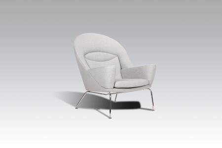 Livmor FB4719LGREY Chair with Track Arms  Stainless Steel Legs and Fabric Upholstery in Light