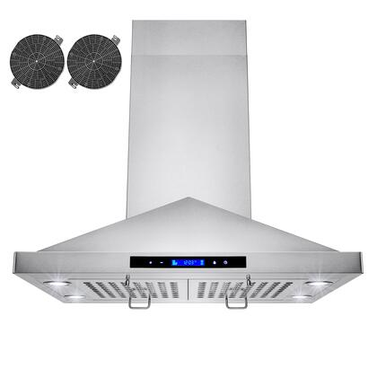 GIR0130 30 inch  Island Mount Range Hood with 870 CFM  65 dB  Innovative Touch  LED Lighting  3 Fan Speed  Stainless Steel Baffle Filter and Ductless: Stainless