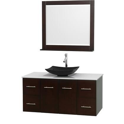 WCVW00948SESWSGS4M36 48 in. Single Bathroom Vanity in Espresso  White Man-Made Stone Countertop  Arista Black Granite Sink  and 36 in.