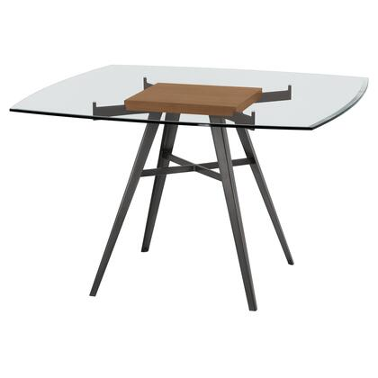 Ojai Collection LCOJDIMFWABS Contemporary Dining Table in Mineral Finish with Clear Glass Top and Walnut Wood