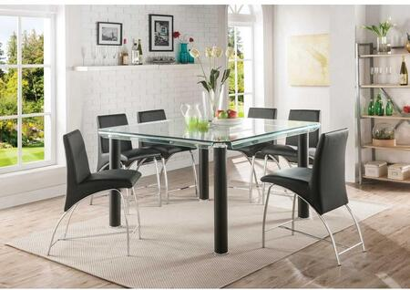 Gordie Collection 70255TS 7 PC Bar Table Set with Glass Top Counter Height Table and 6 PU Leather Upholstered Counter Height Chairs in Black