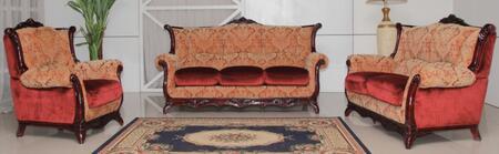 2200BURGUNDYS3SET Traditional 3 Piece Livingroom Set  Sofa + Loveseat + Chair in Burgundy with Mahogany
