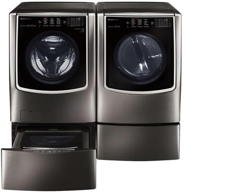 Black Stainless Steel Washer and Dryer Package with WM9500HKA Washer  DLEX9500K Electric Dryer  WDP5K Pedestal  WD205CK SideKick Washer Pedestal and AS401WWA1