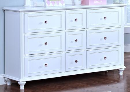 05-242-052 Megan Youth 58 inch  Dresser with Nine Drawers  Tapered Legs  Detailed Molding and Simple Pulls  in