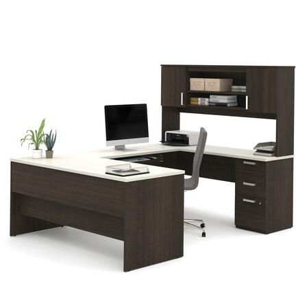 52850-31 Ridgeley U-shaped Desk with lateral file and bookcase in Dark Chocolate & White